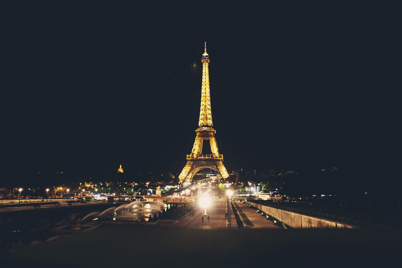 Beautiful Eiffel Tower brightening the night sky