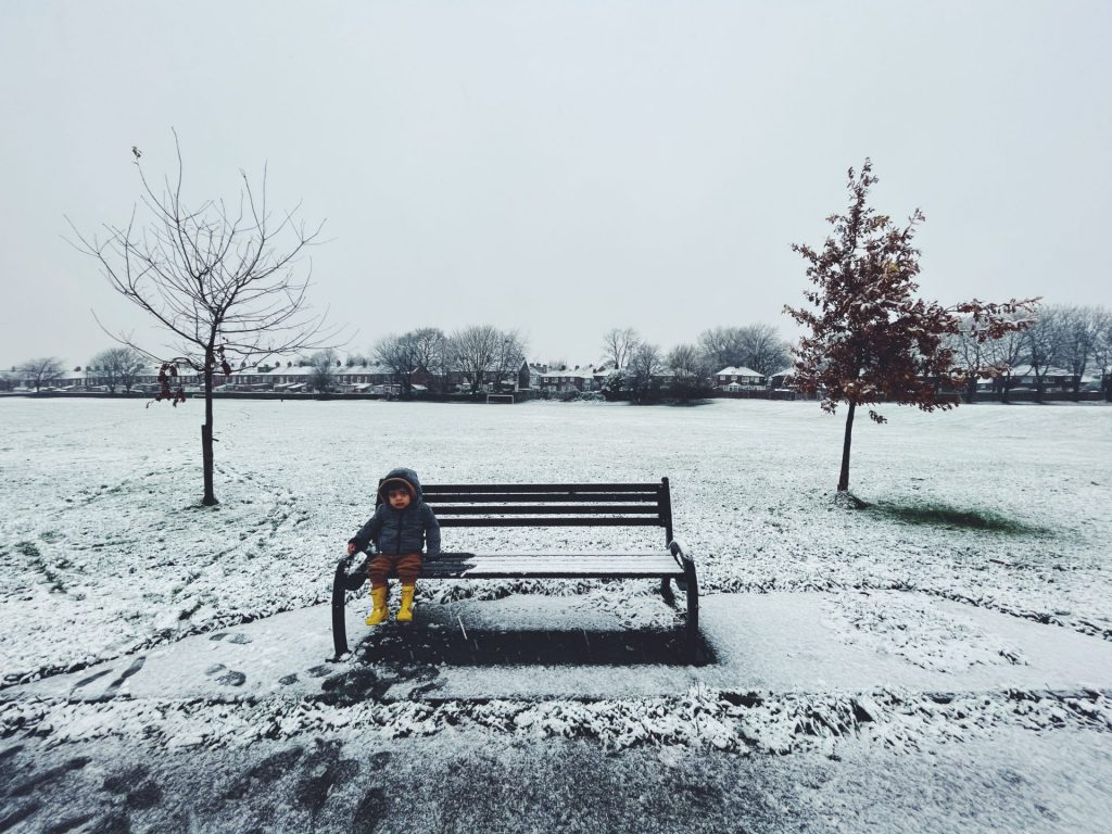 iphone 12 pro max camera review wide angle photo toddler in snow